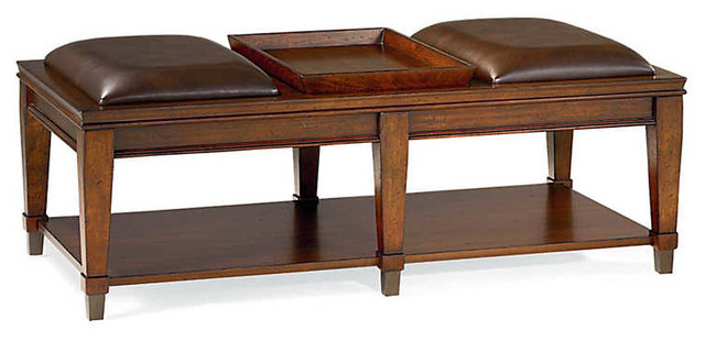 Sunset Valley Rectangular Bench Cocktail By Hammary, Rich Mahogany