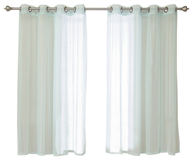 """Colored Tulle Curtains, Mint, 63""""."""