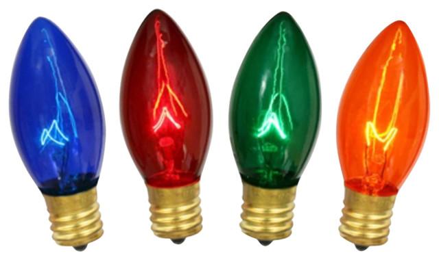 Transparent Multi Twinkling C9 Christmas Replacement Bulbs, 4-Piece Set.