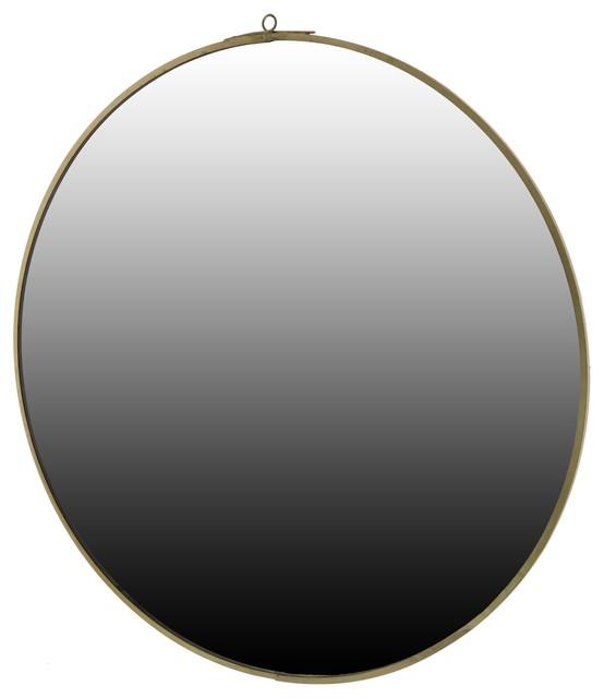 Monroe Round Mirror, Large, Brass.