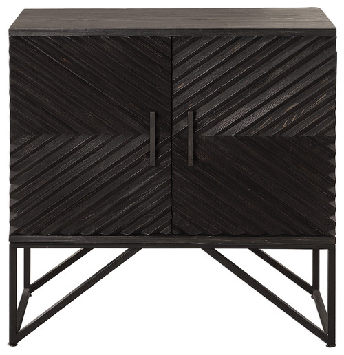 Ebony Black Chevron Stripe Accent Cabinet, Wood Iron Mid Century Rustic Chest