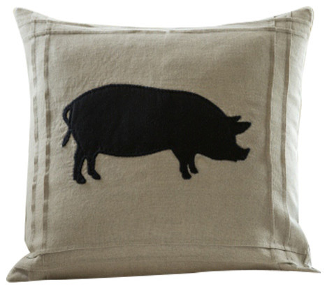 Taylor Linens Natural Linen Pillow, Black Cown - Decorative Pillows Houzz
