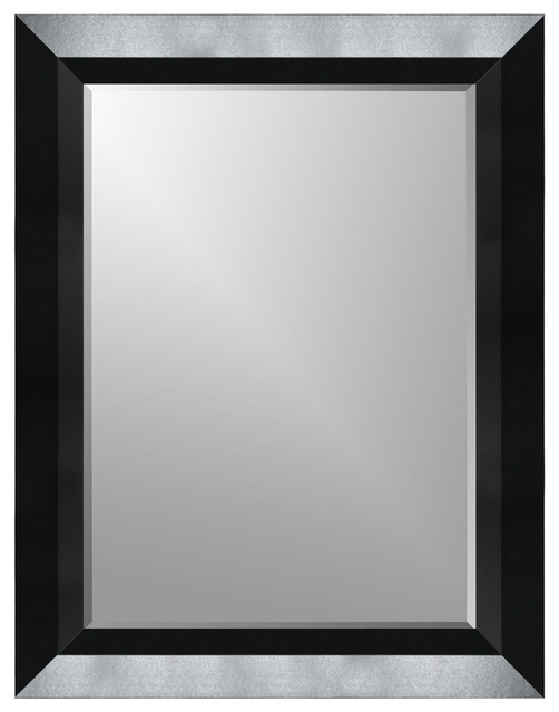 Satin Black Beveled Frame Wall Mirror - Wall Mirrors - by Expressions