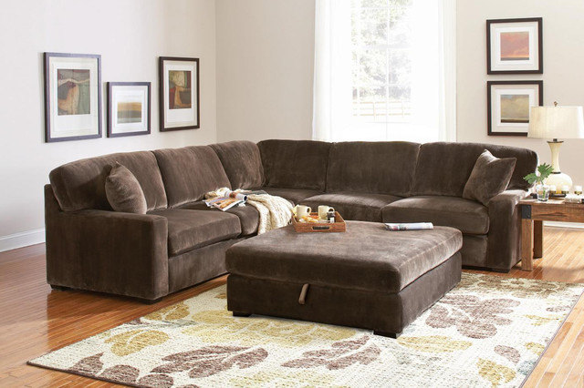 Superb Coaster Casual Comfort Chocolate Velvet Sectional Sofa Corner Couch  Contemporary Sectional Sofas