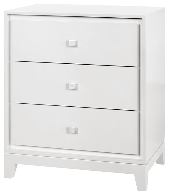 Bungalow 5 Bergamo 3 Drawer Side Table In White Contemporary Side Tables