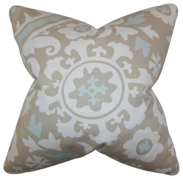 The Pillow Collection Wella Floral Bedding Sham Powder Blue Queen//20 x 30