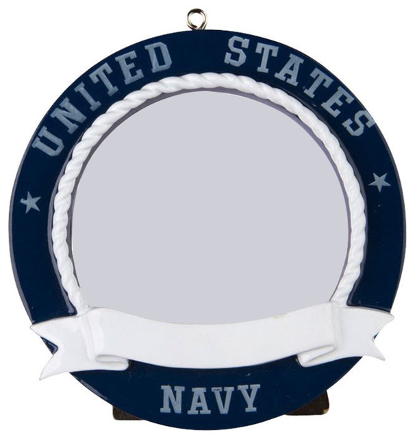 Personalizable Picture Frame Ornament Navy