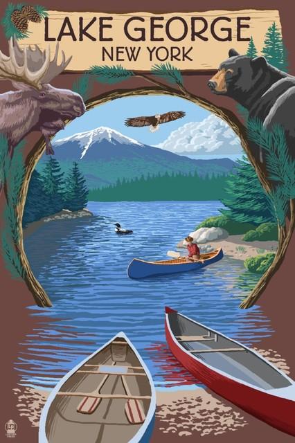 """""""lake George, New York, Canoe Scene"""" Print, 24""""x36""""."""