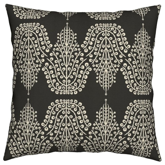 Chocolate Brown Cream Geometric Nature Tree Throw Pillow Velvet