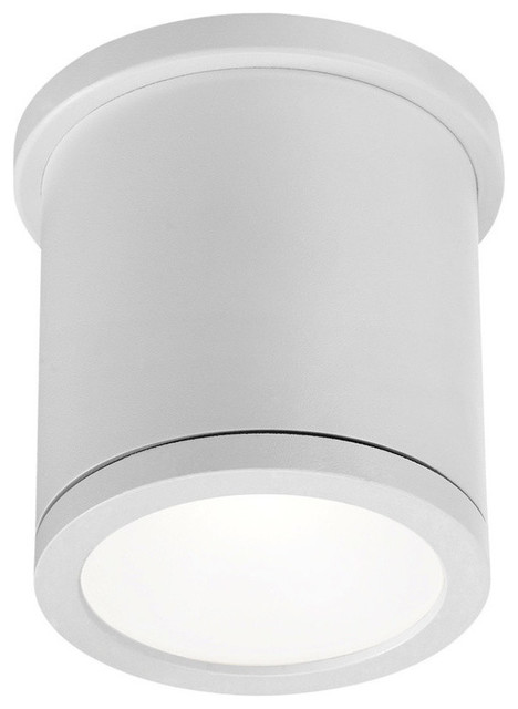 "Tube 5"" Indoor Or Outdoor Led Flush Mount, White."