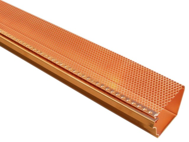 Copper K Style Drop In Gutter Guards Transitional
