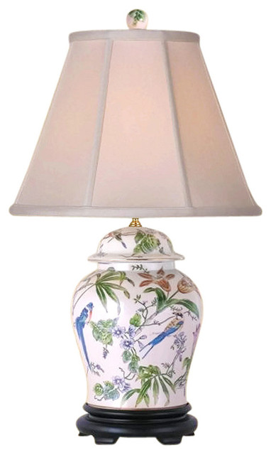 Chinese Porcelain Bird And Fl Motif Temple Jar Table Lamp 29
