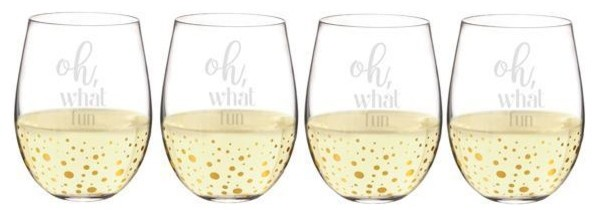 Gold Dot Stemless Wine Glasses Oh What Fun Set Of 4 Contemporary