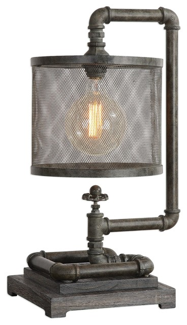 Rustic Industrial Iron Metal Pipes Table Lamp Mesh Cage