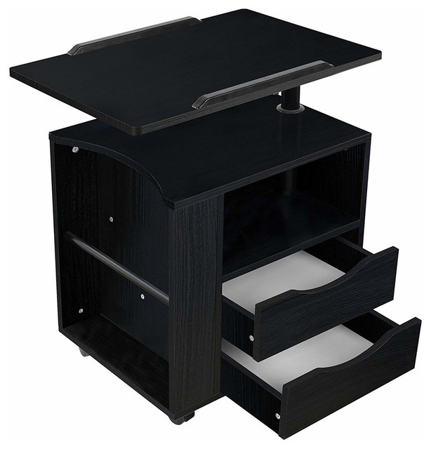 Bedside Table With Adjustable-Swivel Table Top, Drawers, Wheels and Open Shelf