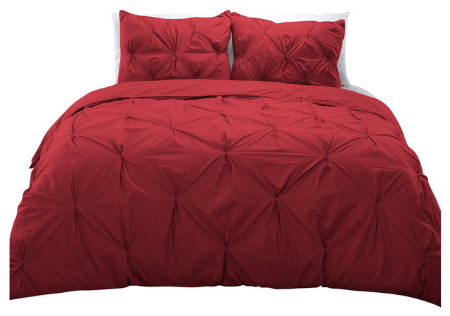 Cottonesque 100 Cotton Pintuck Duvet Cover Mini Set Scarlet Twin