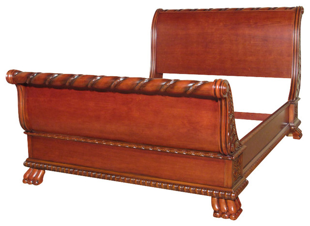Solid Wood Cherry Carved French Style Queen Sleigh Bed