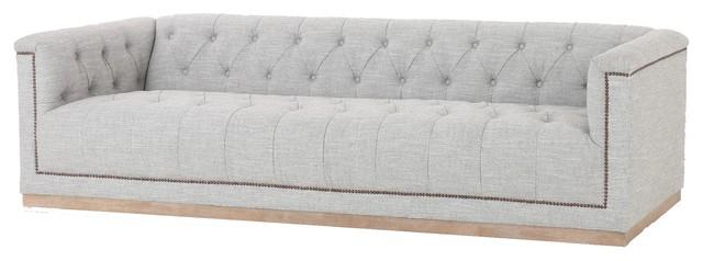 Maxx Modern Fabric Upholstered Grey Tufted Sofa