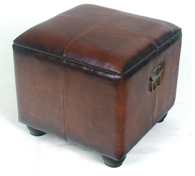 Ottomans Brussels Brown Bonded Leather Storage Chest: Faux Leather Square Brown Ottoman