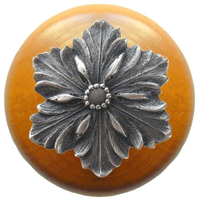 Opulent Flower Wood Knob, Antique Brass, Maple Wood Finish ...