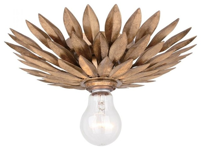 Crystorama Broche 1-Light Antique Gold Ceiling Mount.