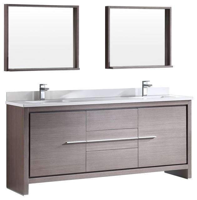 Fresca Allier 72 Gray Oak Modern Double Sink Bathroom Vanity, Mirror.