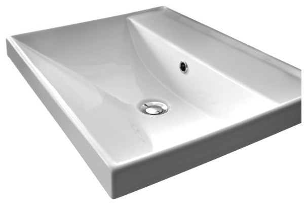 Square White Ceramic Self Or Wall Mounted Bathroom Sink No Hole
