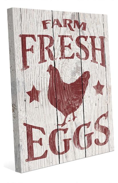 Farm Fresh Eggs with Hen Rustic Farmhouse Wall Art Print - Farmhouse ...