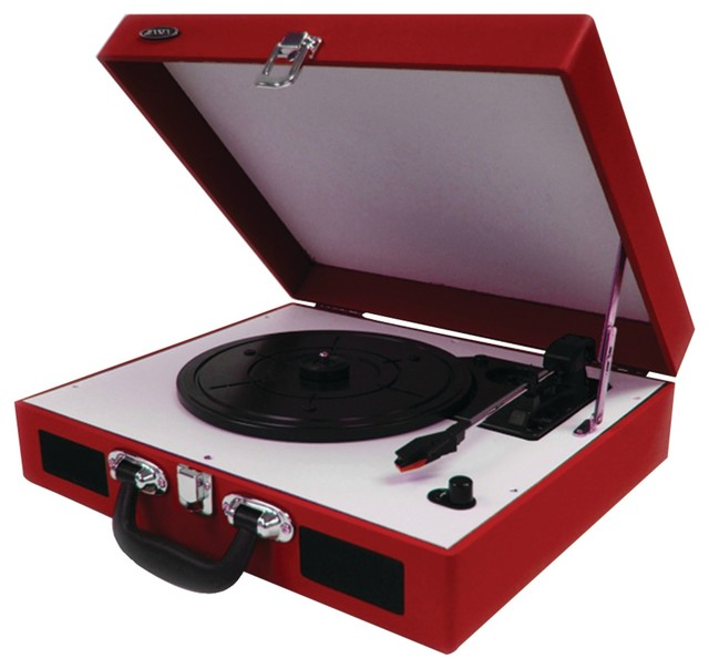 Jensen Portable 3 Speed Stereo Turntables With Built In Speakers, Red  Traditional