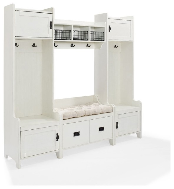 Fremont 4 Piece Entryway Kit 2 Towers Bench Shelf White