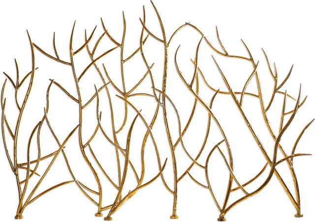 Uttermost Gold Branches Decorative Fireplace Screen.