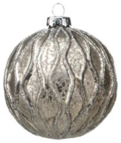 Small Holiday Ball Christmas Ornament Silver And Gray Set Of 6