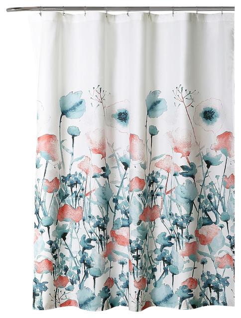 Zuri Flora Shower Curtain Blue Coral Single 72x72