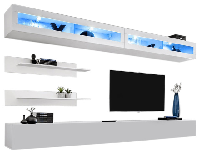 Wall Mounted Floating Modern Entertainment Center Fly I, White, I2
