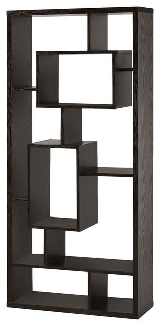 Asymmetrical Cube Black Book Case With Shelves.