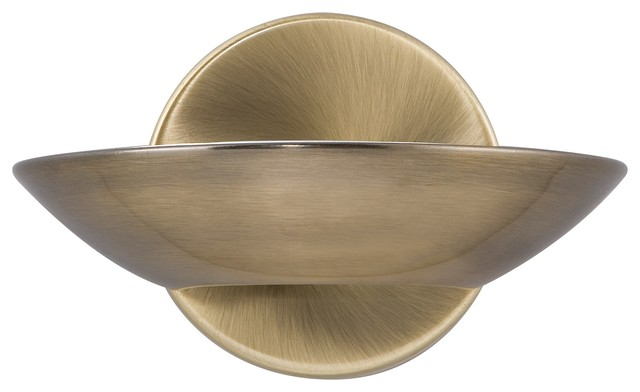LED Uplight Wall Light, Frosted Glass, Antique Brass