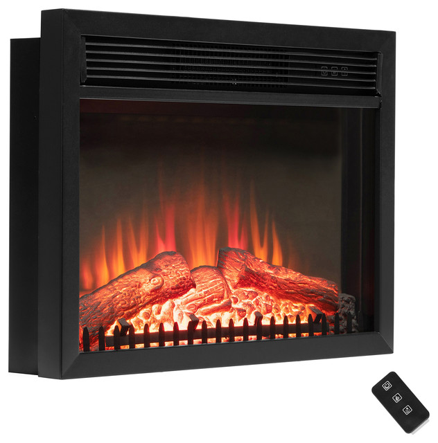 Akdy 23 Black Freestanding Logs Portable Electric Fireplace Heater