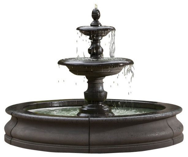 caterina outdoor water fountain in basin - traditional - outdoor fountains and ponds