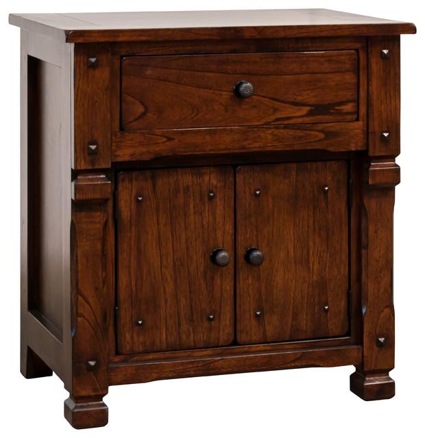 Prescott 2-Door 1-Drawer Nightstand, Dark Chocolate.