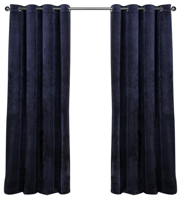"""Velvet Grommet Top Curtains, Set Of 2, Navy Blue, 54""""x84""""."""