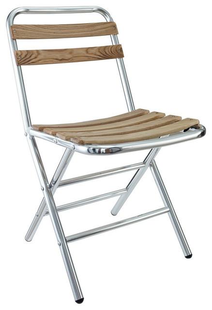 Folderia Wooden Slat Aluminum Folding Chair Contemporary