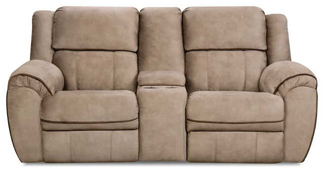 Simmons Upholstery Osborn Tan Double Motion Loveseat.