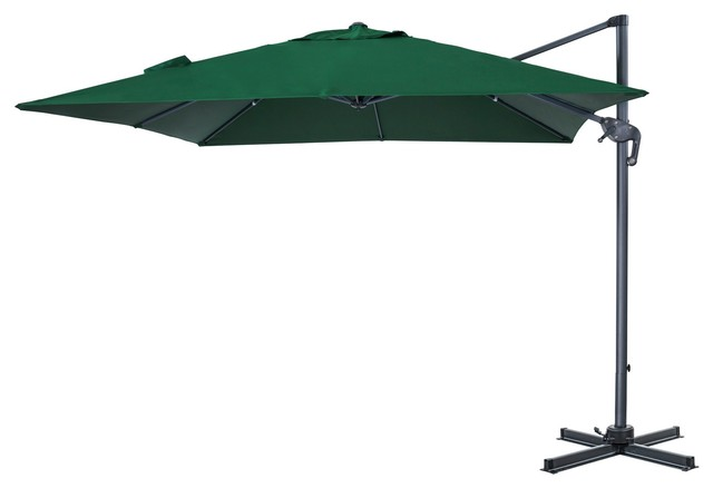 Patio Offset Cantilever Hanging Umbrella With Cross Base, 10&x27;x10&x27;, Hunter Green.