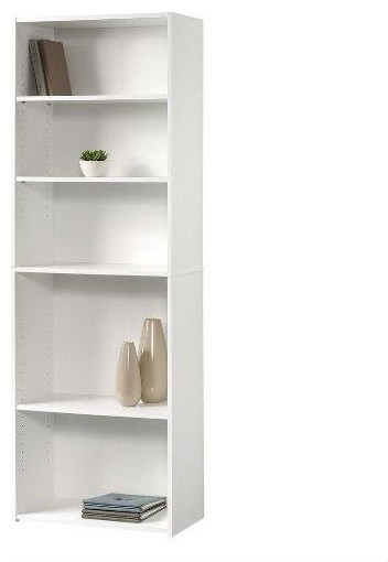 Contemporary 5 Shelf Bookcase Bookshelf Soft White Wood Finish