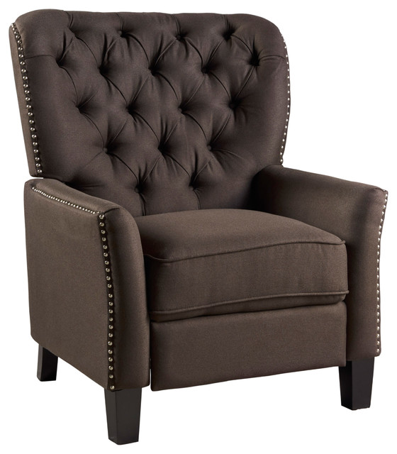 Carlyle Tufted Back Fabric Recliner Armchair, Coffee