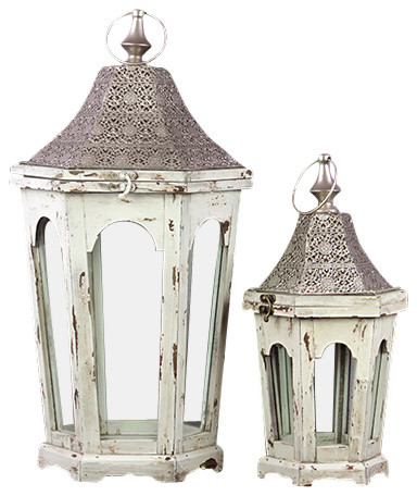 classic lamp post design wooden lantern set of two in antique white rh houzz com shabby chic lanterne shabby chic lantern centerpieces