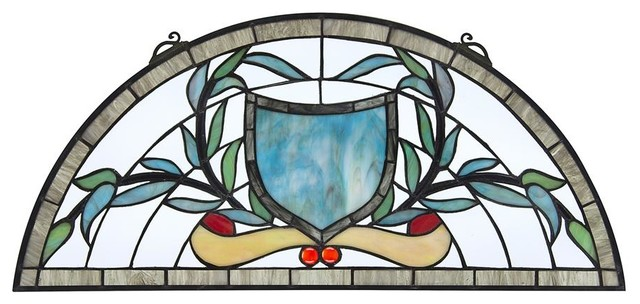 Heraldic Shield Demi Lune Stained Glass