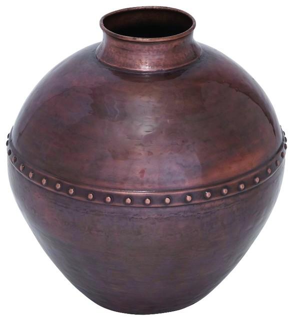 Vintage Antique Metal Vase With Riveted Center A Copper Finish