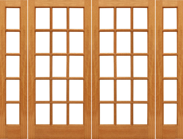 Prehung 15 lite french brazilian mahogany wood ig glass for Exterior french doors with side windows