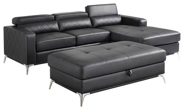 Miraculous Faux Leather Chaise Right Corner Sectional Sofa Set With Ottoman Black Gmtry Best Dining Table And Chair Ideas Images Gmtryco